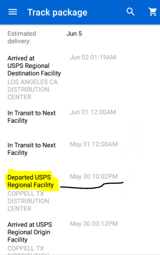 What is 'Departed Usps Regional Facility' mean?