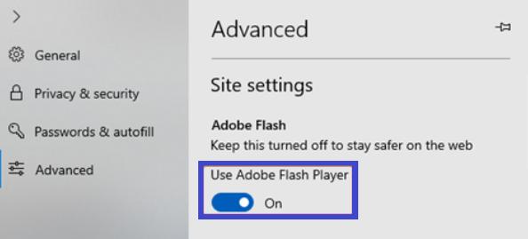 Adobe flash player settings of microsoft edge