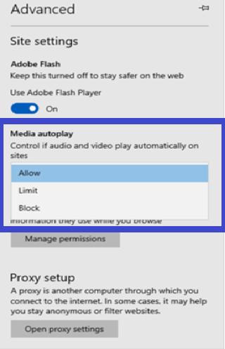 media autoplay settings of microsoft edge