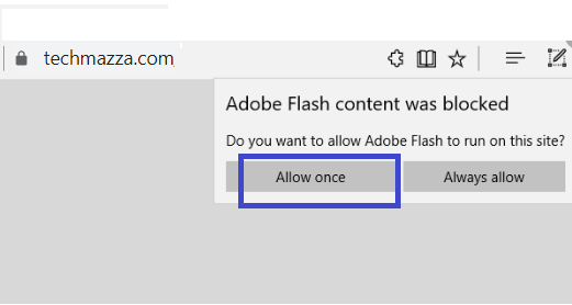 Enable Flash For Specific Websites On Edge only once